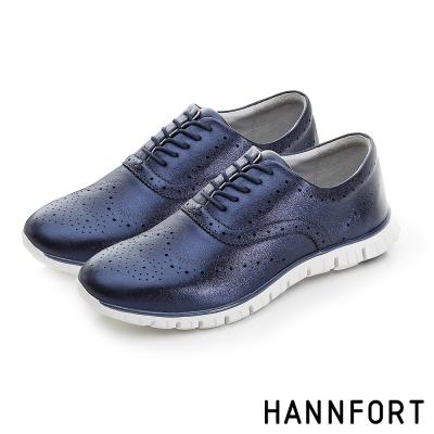 HANNFORT ZERO GRAVITY珠光真皮牛津氣墊鞋-女-前衛藍