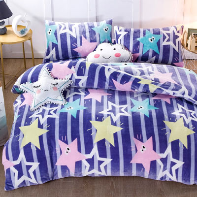 Grace Life 閃亮星星 雙人法蘭絨被套毯鋪棉床包四件組