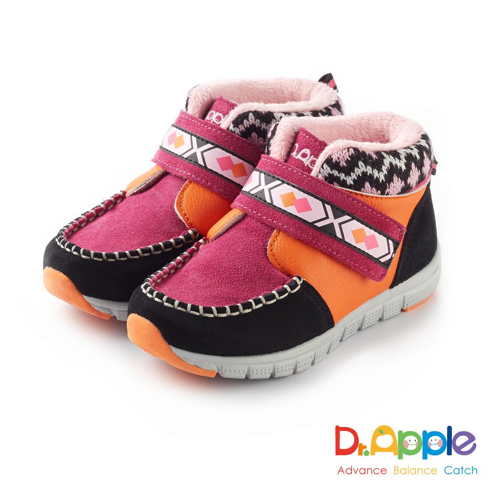 Dr. Apple 機能童鞋 麂皮暖暖經典圖騰短靴款 桃