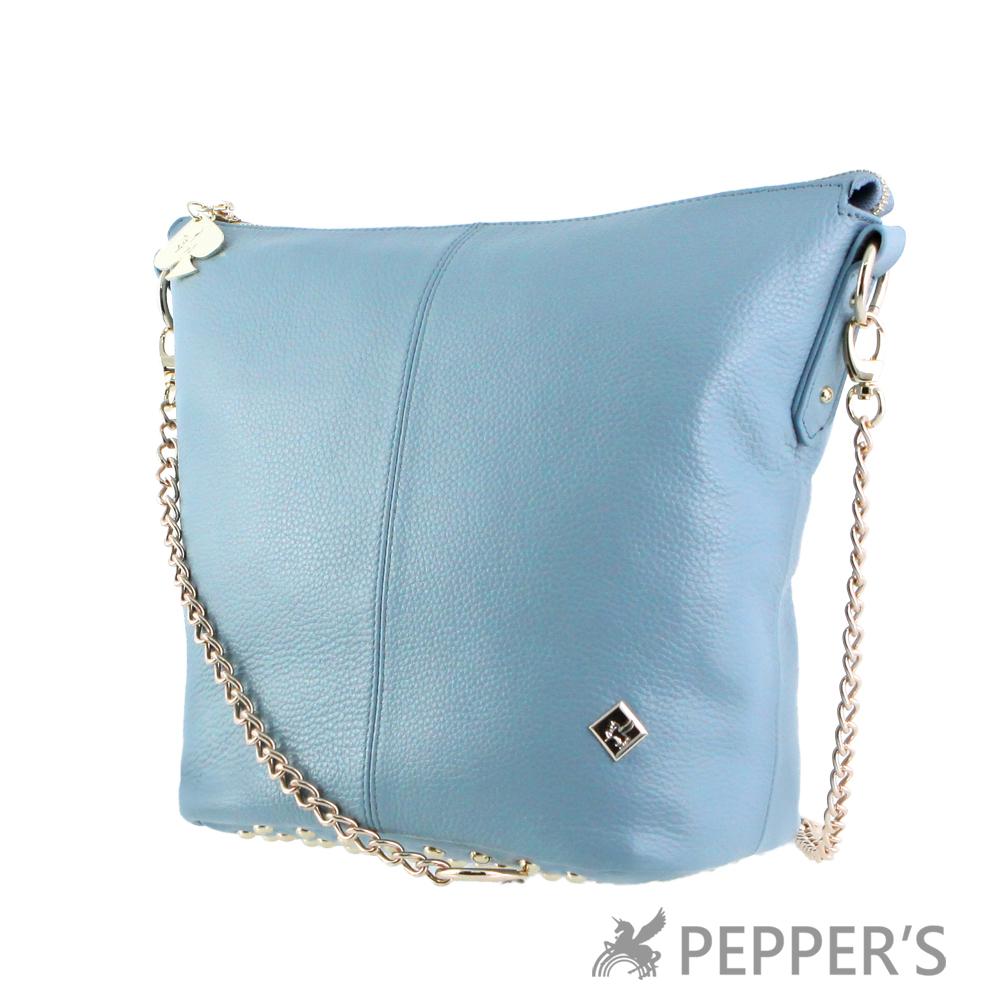 PEPPER`S 天馬包 牛皮搖滾3WAY水桶包-天空藍