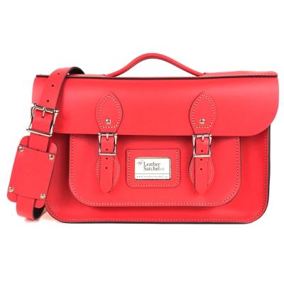The Leather Satchel 英國手工牛皮劍橋包 肩背後背包 粉彩紅 14吋