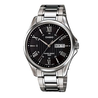 CASIO 經典復古羅馬簡約指針紳士腕錶-銀色X黑面(MTP-1384D-1)/42mm