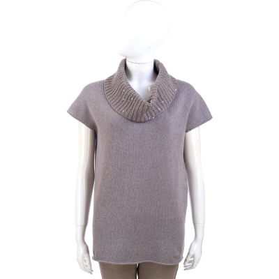 FABIANA FILIPPI 可可灰色拼接高領羊毛短袖上衣(62%LANA)