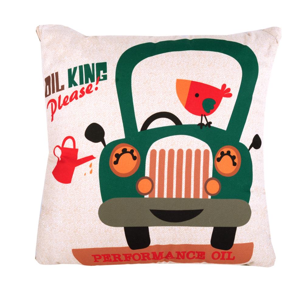 童趣插畫風 舒適兩用棉被抱枕/靠枕/午睡枕 (復古車)