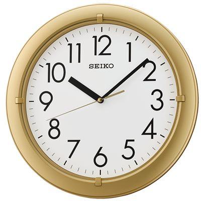 SEIKO 日本精工 滑動式秒針 靜音掛鐘(QXA716G)-金/32.8cm