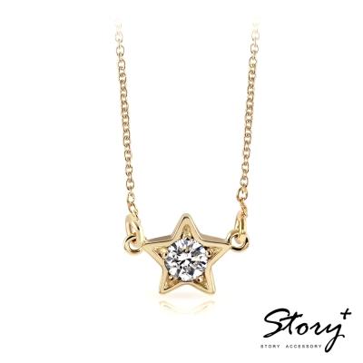 STORY故事銀飾-點點星光-純銀誕生石項鍊(黃K金)