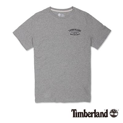 Timberland-男款淺灰色前後品牌印花短袖T