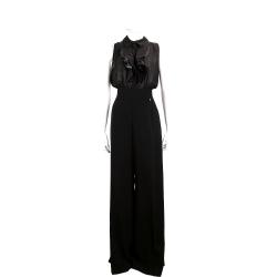 ELISABETTA FRANCHI 黑色拼接荷葉造型可拆式連身褲