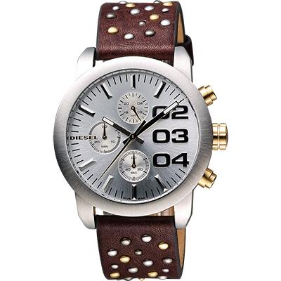 DIESEL Double Down龐克風格計時腕錶-銀x咖啡/40mm
