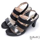 DIANA 香榭氣質--雙色三條帶設計真皮高跟涼鞋 – 黑
