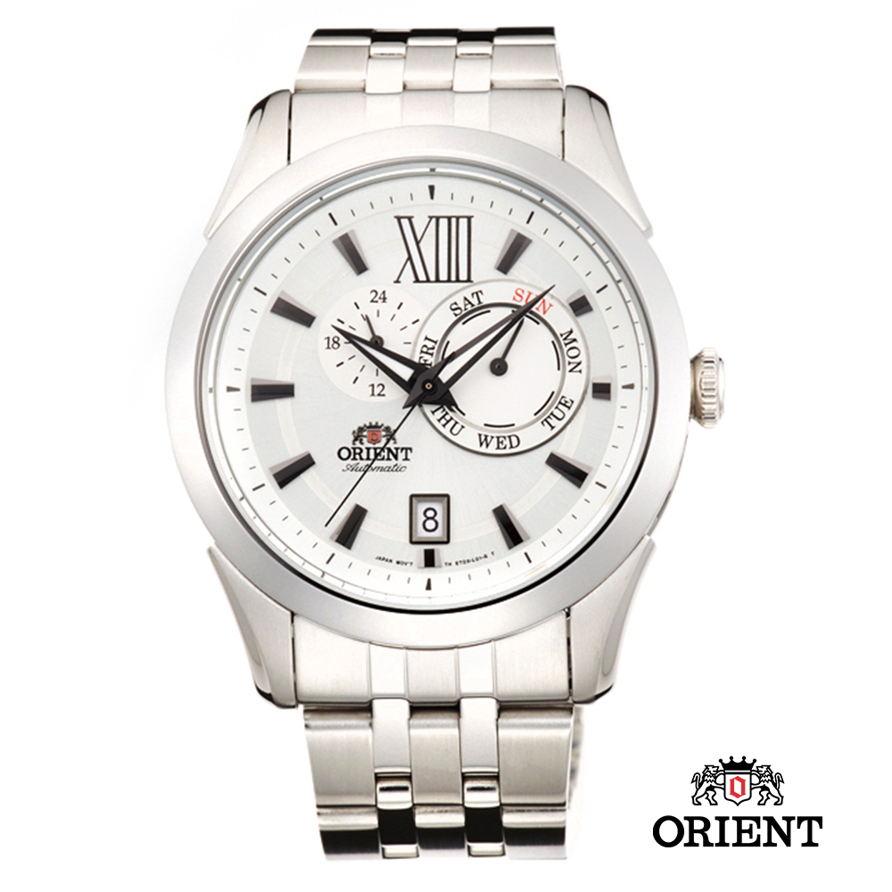 ORIENT 東方錶 DAY & DATE系列 日期星期機械錶-白色/42mm