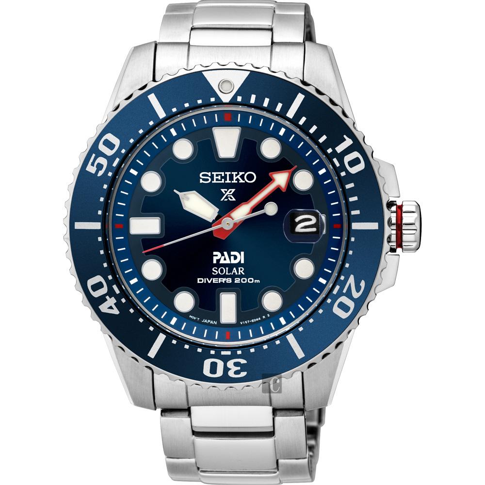 SEIKO精工 Prospex PADI 太陽能潛水200米聯名限量錶(SNE435J)-藍水鬼