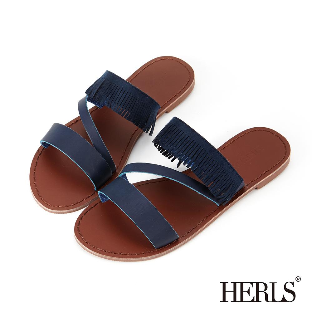 HERLS 民俗風線條鏤空流蘇平底拖鞋-藍色
