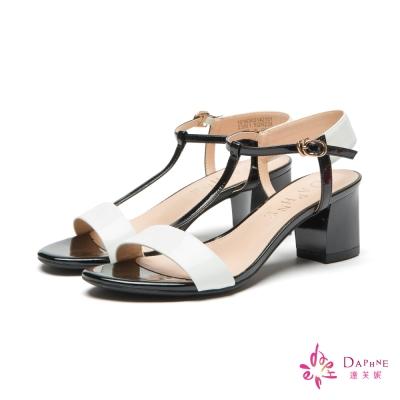 達芙妮DAPHNE 知性香榭簡約撞色T字粗跟涼鞋-潔淨白
