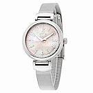 ELLE 淡雅粉紅珍珠母貝米蘭不鏽鋼錶-粉紅X銀/32mm