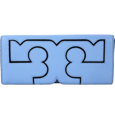 TORY BURCH Serif T LOGO 浮雕荔紋牛皮手拿包(藍色)