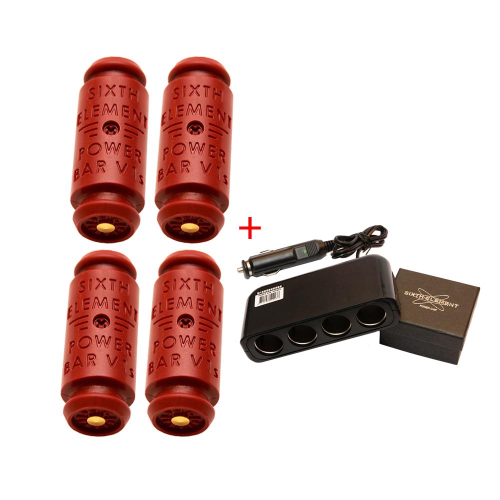 第六元素電集棒V1s 紅色超級版(四支)+專用四孔擴充插座