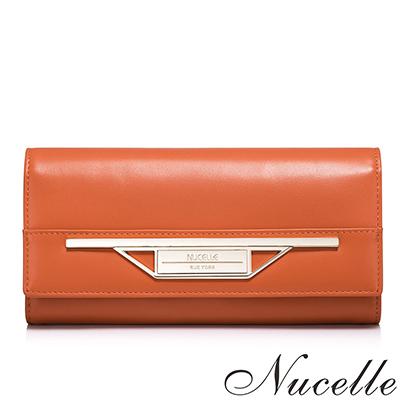 NUCELLE-真皮伊薇特金屬造型飾牌長夾-共二色