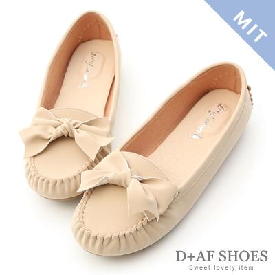 D+AF 可愛印象.MIT立體蝴蝶結莫卡辛豆豆鞋*杏