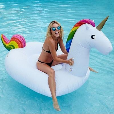 獨角獸/天馬造型游泳圈 水上充氣浮床