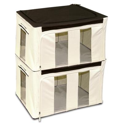 WallyFun 第三代-雙U摺疊收納箱 -米白色86L (超值2入)~超強荷重200kg