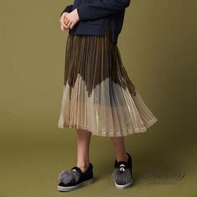 OUWEY歐薇 都會金屬可可褶裙(可)-動態show