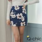 正韓 花朵印花輕奢紋理窄裙 (共二色)-Q-chic