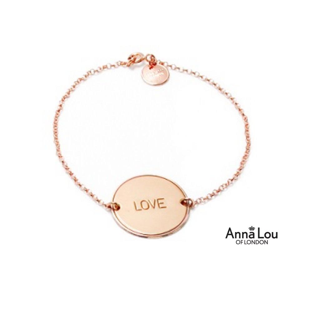 Anna Lou OF LONDON 倫敦品牌 優雅字墜玫瑰金手鍊LOVE