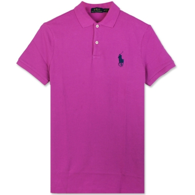 Ralph Lauren 中馬素面POLO衫(紫紅)