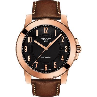 TISSOT天梭 SWISSMATIC 紳士機械錶-玫瑰金框x咖啡/44mm