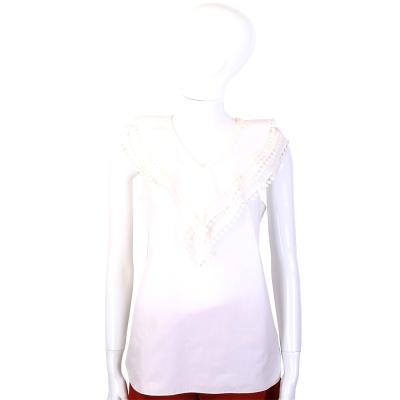CHLOE 米白色菱格花邊設計V領無袖上衣