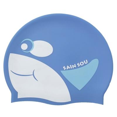 聖手牌 虎鯨造型矽膠泳帽(水藍)