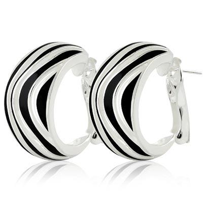 MONT BLANC 萬寶龍 黑色漆面波浪紋寬版純銀耳環