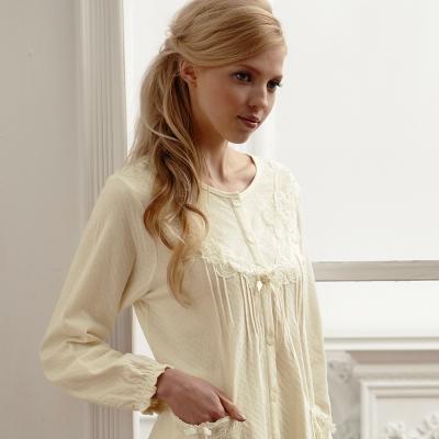 羅絲美睡衣 - 純淨潔白優雅長袖褲裝睡衣 (典雅黃)