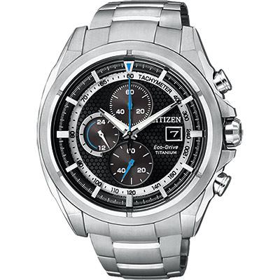 CITIZEN 鈦金屬光動能計時腕錶(CA0551-50E)-黑/44mm