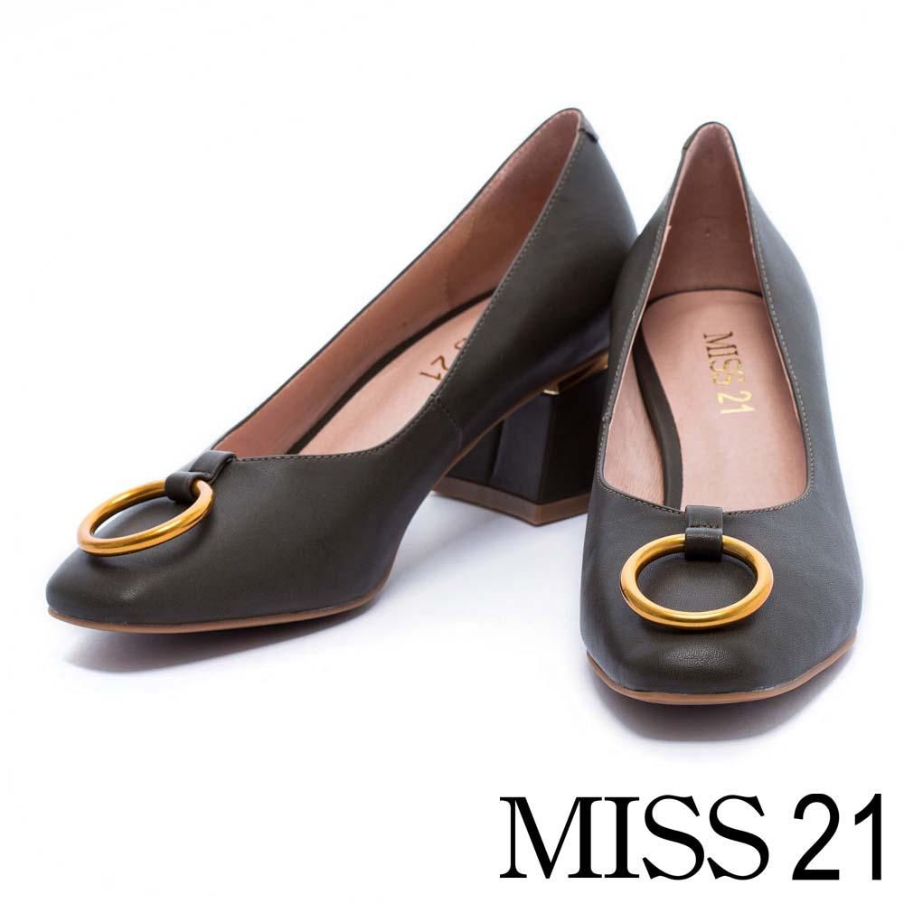跟鞋 MISS 21 前衛潮流金屬圓環小方頭粗跟鞋-綠