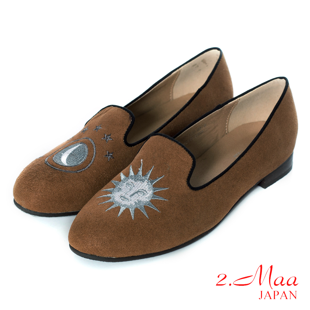 2.Maa藝術時尚精緻小太陽麂皮休閒低跟樂福鞋-米駝色
