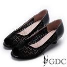 GDC-真皮前衛幾何雷射水鑽低跟魚口鞋-黑色