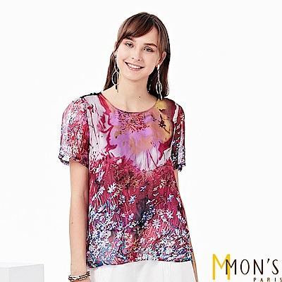 MONS-渲染印花蠶絲上衣