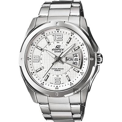 CASIO 卡西歐 EDIFICE 三針系列星期日期手錶-白x銀/49mm