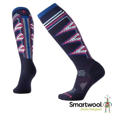 SmartWool 女PhD滑雪輕量避震印花高筒襪 深海軍藍
