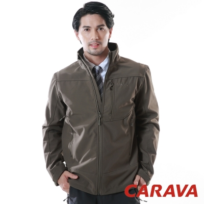 CARAVA 《軟殼防水禦寒外套》(黑橄綠 )