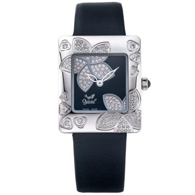 Ogival 愛其華 花漾馨語珠寶腕錶-黑 380-36DLW