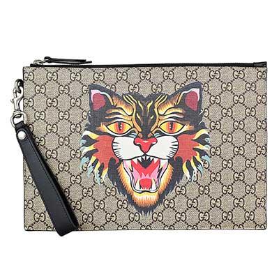 Gucci Supreme GG Angry cat圖印PVC拉鍊大型手拿包(咖啡x黑)