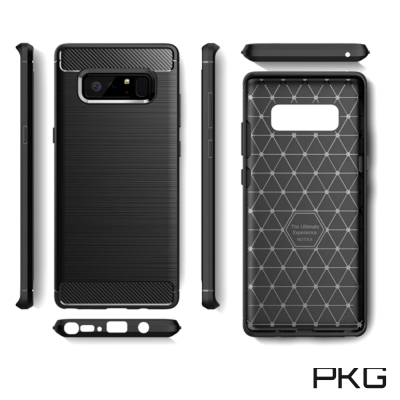 PKG  SAMSUNG NOTE8 抗震防摔手機殼-碳纖維紋系列-紳士黑