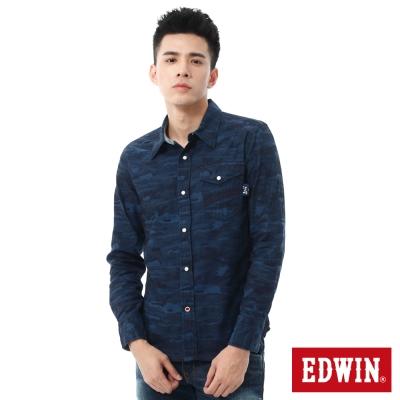 EDWIN 江戶勝 拼接口袋迷彩長袖襯衫-男-黑藍