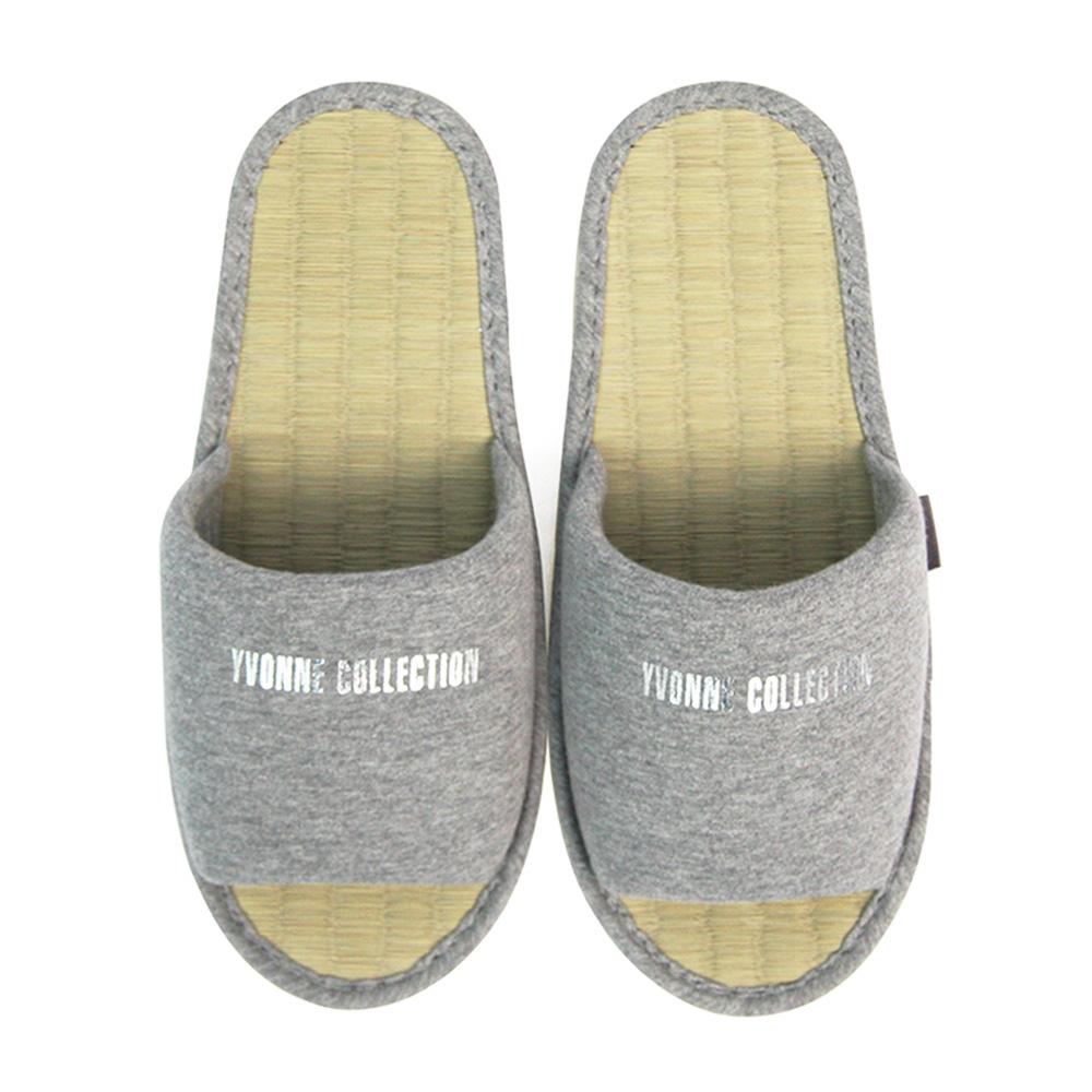 Yvonne Collection草蓆室內拖鞋-灰M