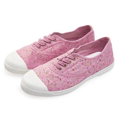 (女)Natural World 西班牙休閒鞋 碎花4孔綁帶基本款*粉色
