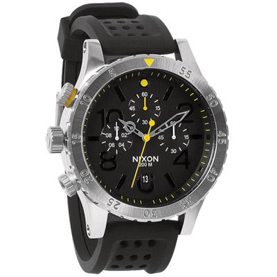 NIXON The 40-20 CHRONO P魅力淬煉運動腕錶-銀黑/42mm