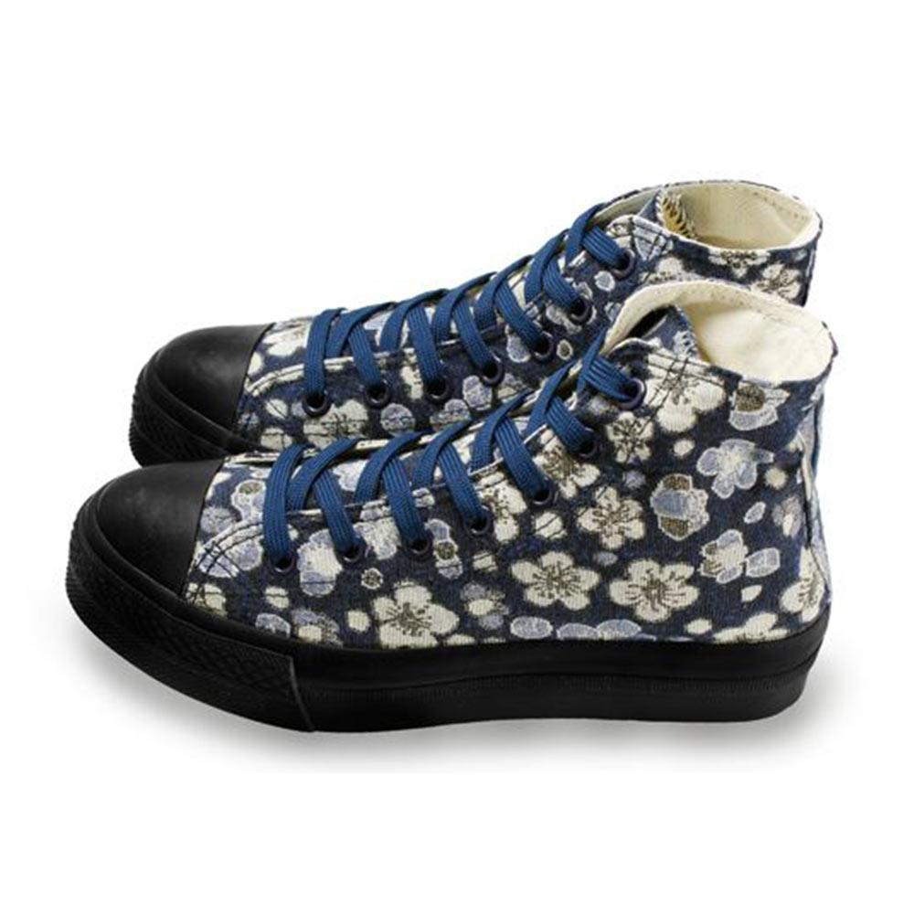 FUFA  MIT  古典花卉高筒帆布鞋  (T85) 藍花